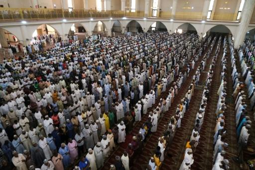 Muslim faithful at Friday prayers in the National Mosque in Abuja, Nigeria's capital