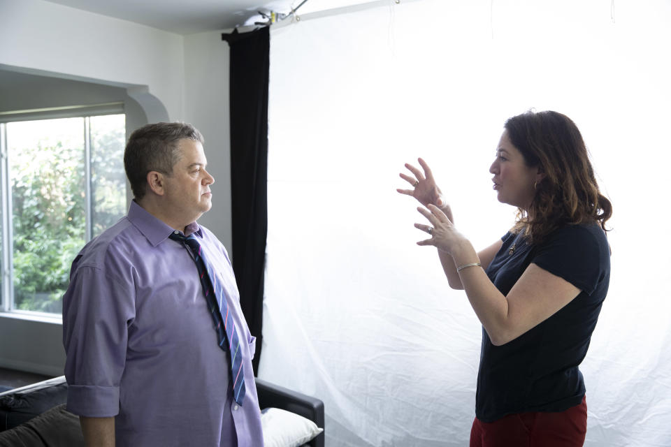 Oswalt and Liz Garbus on the set of <em>I'll Be Gone in the Dark</em>. (Photo: Courtesy HBO)