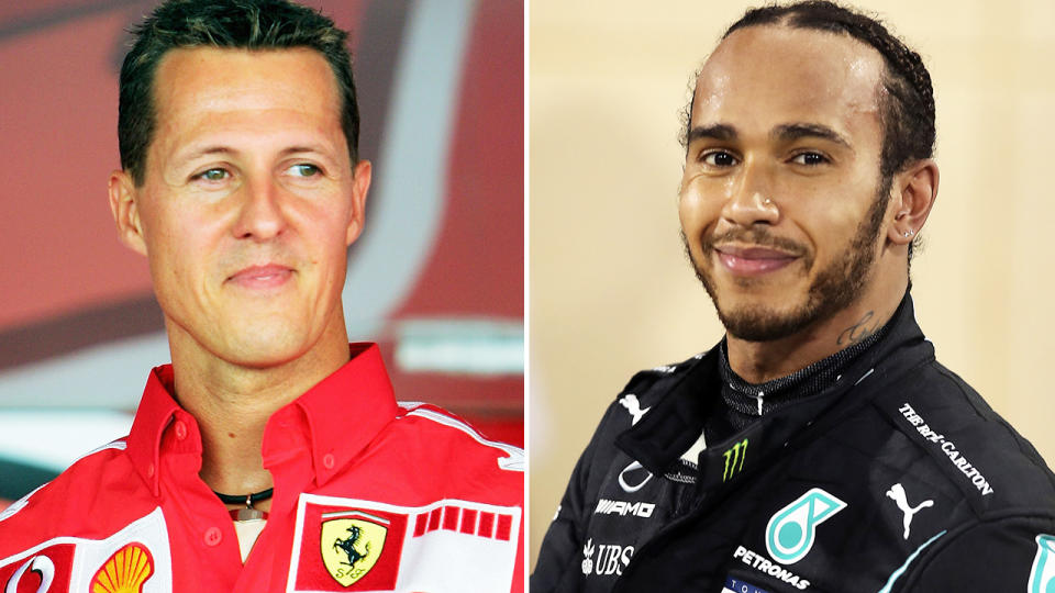 Michael Schumacher and Lewis Hamilton, pictured here in action in Formula One.