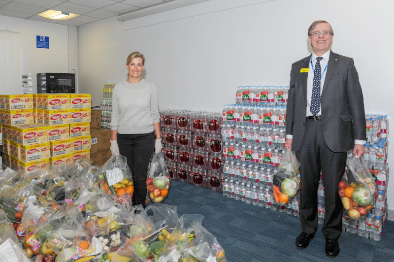 The countess helped put 200 bags of food together. (Ashford and St Peter's NHS Trust)