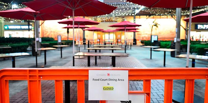 Outdoor dining is closed at the Citadel Outlets in Los Angeles, California on November 30, 2020, after Los Angeles County banned outdoor dining in an attempt to stem the latest surge in coronavirus cases.