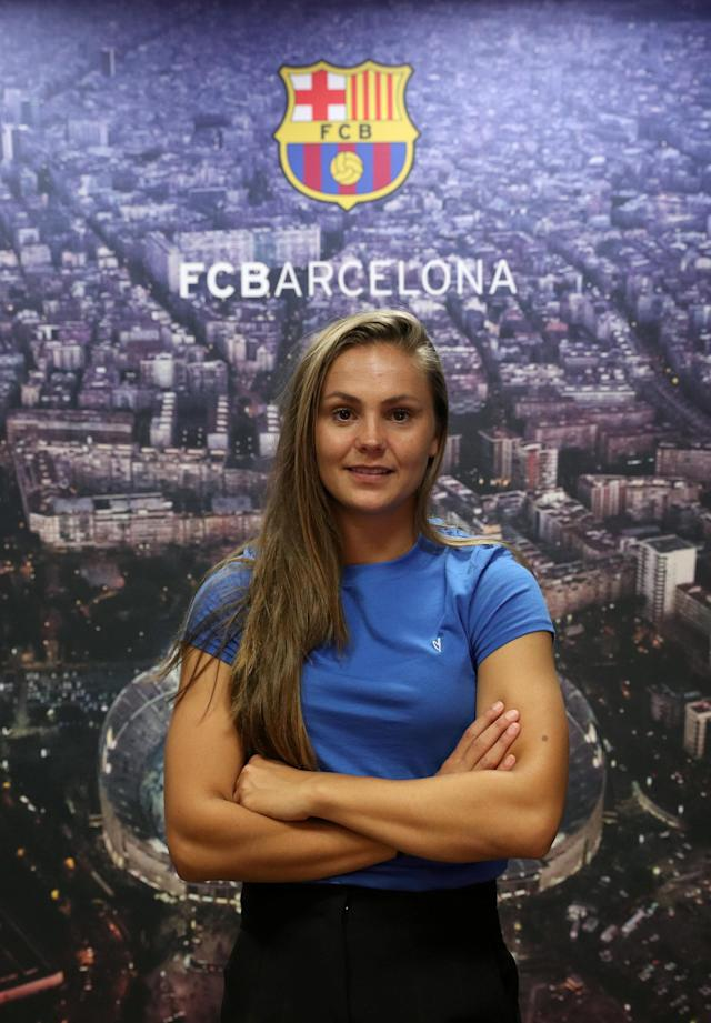 FC Barcelona's Dutch women's soccer player Lieke Martens poses during an interview at Joan Gamper training camp, near Barcelona, Spain May 18, 2018. Picture taken May 18, 2018. REUTERS/Albert Gea