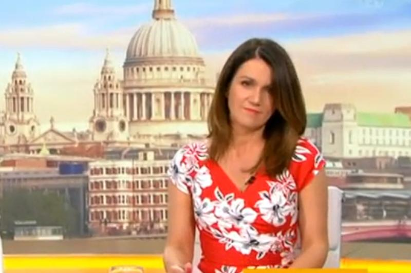 Defeated: Susanna Reid sighed as Piers Morgan gallivanted around the studio (ITV)