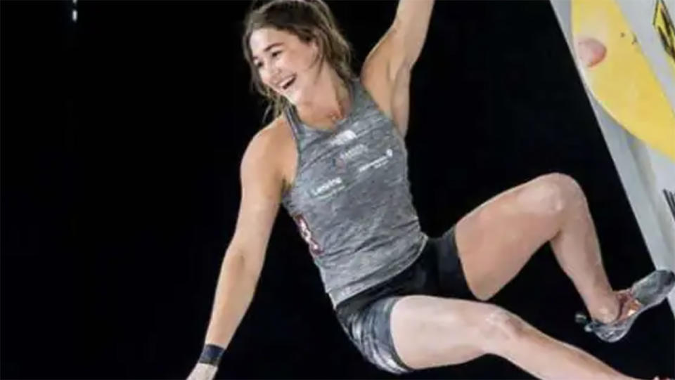 Johanna Farber, pictured here in action in sport climbing.