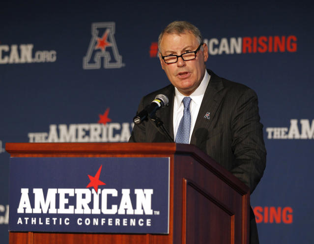 American Athletic Conference Commissioner Mike Aresco addresses the media. (AP)