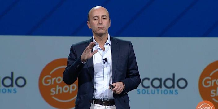 Luke Jensen, CEO of Ocado Solutions, speaking in 2018.