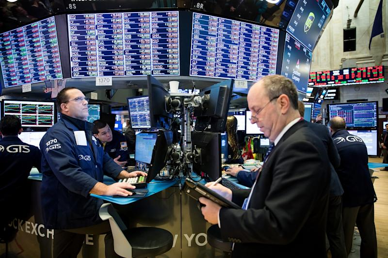 Trading On The Floor Of The NYSE As U.S. Stocks Extend Losses As Risk Rally Falters
