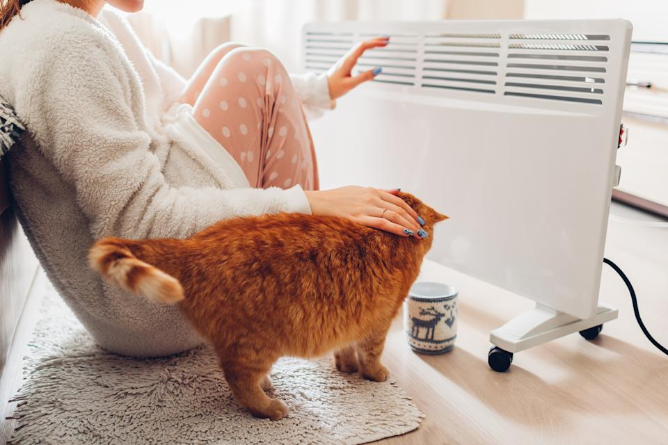 Using heater at home in winter. Woman warming her hands sitting by device with cat and wearing warm clothes. Heating season.