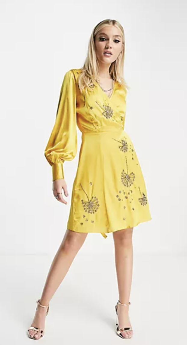 """<p><strong>Hope & Ivy</strong></p><p>us.asos.com</p><p><strong>$151.00</strong></p><p><a href=""""https://go.redirectingat.com?id=74968X1596630&url=https%3A%2F%2Fwww.asos.com%2Fus%2Fhope-ivy%2Fhope-ivy-dandelion-embellished-wrap-midi-dress-in-golden-yellow%2Fprd%2F22947200&sref=https%3A%2F%2Fwww.womenshealthmag.com%2Flife%2Fg36173394%2Fsummer-wedding-guest-dresses%2F"""" rel=""""nofollow noopener"""" target=""""_blank"""" data-ylk=""""slk:Shop Now"""" class=""""link rapid-noclick-resp"""">Shop Now</a></p><p>If I knew I could have dandelions on a dress, I would have gotten this years ago. Everyone will be making a wish on your dress that they'll be the next one to tie the knot!</p>"""