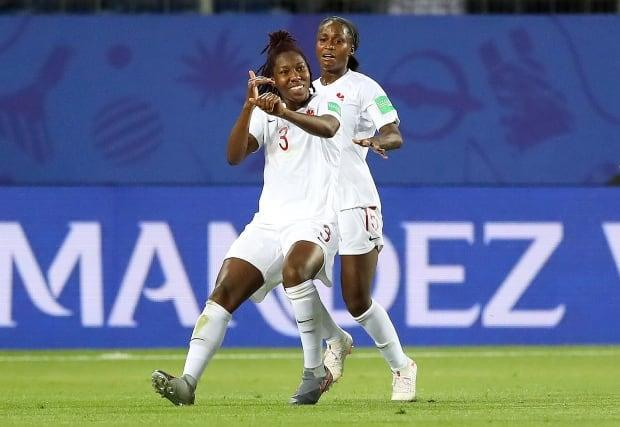 Kadeisha Buchanan (3), pictured celebrating after scoring a goal during the 2019 Women's World Cup in France, is the reigning Canadian player of the year, is one of the best centre backs in the women's game.  (Rui Vieira/Associated Press - image credit)