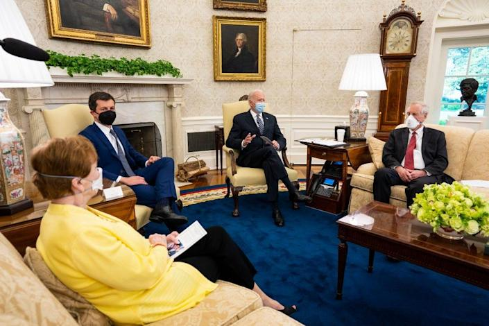WASHINGTON, DC - APRIL 19:  U.S. President Joe Biden (C) speaks during a meeting with a bipartisan group of members of Congress to discuss investments in the American Jobs Plan including (L-R) Rep. Kay Granger (R-TX), Transportation Secretary Pete Buttigieg, and Sen. Angus King (I-ME) in the Oval Office at the White House April 19, 2021 in Washington, DC. Biden has proposed raising the corporate tax rate to pay for his initiatives, which include traditional infrastructure projects as well as a major investment in long-term, in-home healthcare. (Photo by Doug Mills-Pool/Getty Images)