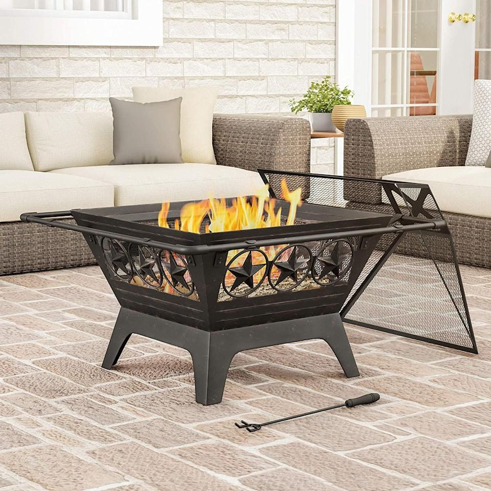 <p>The rustic design of the <span>Square Large Steel Fire Pit</span> ($103) makes it an outdoor essential.</p>