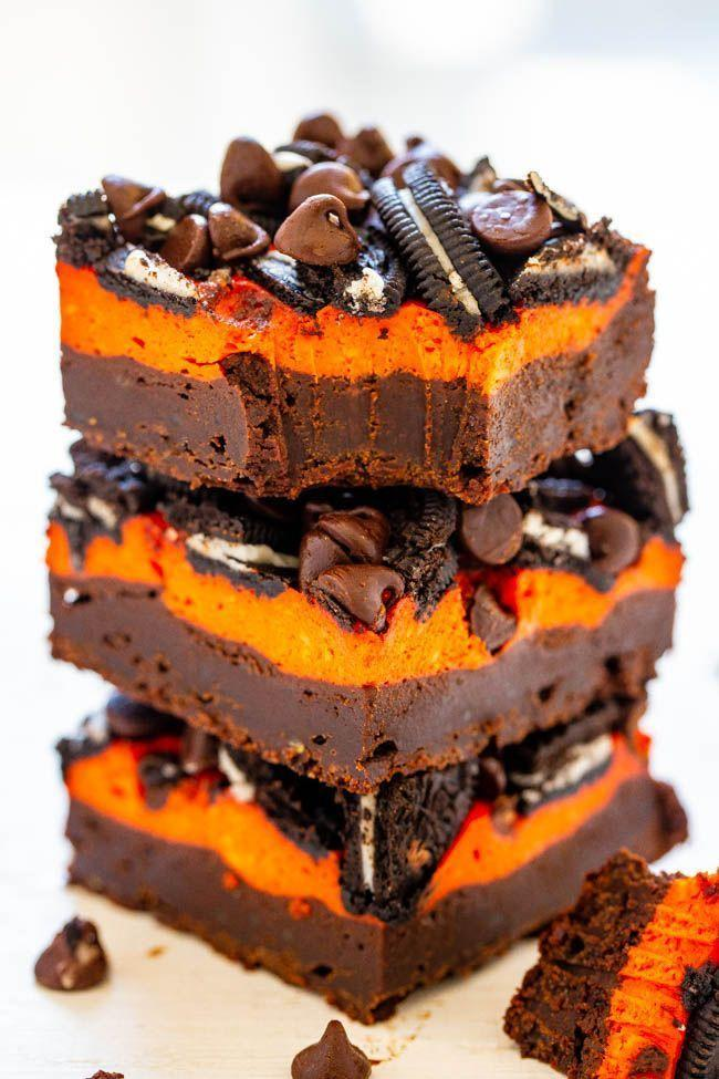 """<p>Try to have just one of these brownies. (That's an official dare.)</p><p><strong>Get the recipe at <a href=""""https://www.averiecooks.com/loaded-halloween-cream-cheese-brownies/"""" rel=""""nofollow noopener"""" target=""""_blank"""" data-ylk=""""slk:Averie Cooks"""" class=""""link rapid-noclick-resp"""">Averie Cooks</a>.</strong></p><p><strong><strong><a class=""""link rapid-noclick-resp"""" href=""""https://go.redirectingat.com?id=74968X1596630&url=https%3A%2F%2Fwww.walmart.com%2Fip%2FThe-Pioneer-Woman-2-Piece-Rectangular-Ruffle-Top-Ceramic-Bakeware-Set%2F46040022&sref=https%3A%2F%2Fwww.thepioneerwoman.com%2Ffood-cooking%2Fmeals-menus%2Fg32110899%2Fbest-halloween-desserts%2F"""" rel=""""nofollow noopener"""" target=""""_blank"""" data-ylk=""""slk:SHOP BAKING DISHES"""">SHOP BAKING DISHES</a></strong><br></strong></p>"""