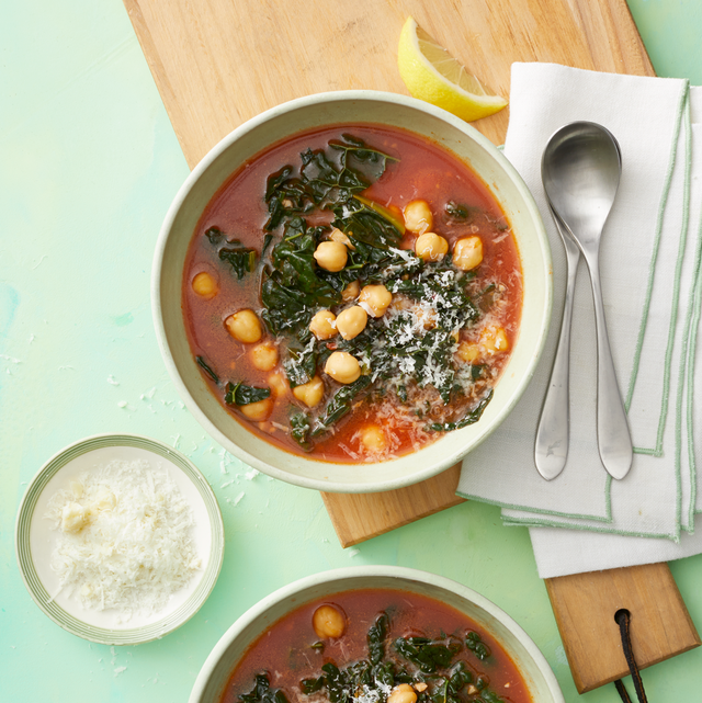 """<p>What's a chilly winter day without a bowl of belly-warming soup? This vegetarian option packs in filling protein and fiber without all the calories, and thanks to the twist of lemon, it's got immune-boosting <a href=""""https://www.prevention.com/health/a34026452/vitamin-d-for-coronavirus-covid-19/"""" rel=""""nofollow noopener"""" target=""""_blank"""" data-ylk=""""slk:vitamin C"""" class=""""link rapid-noclick-resp"""">vitamin C</a>, too. (You can even go totally vegan by skipping the cheese.)</p><p><strong><em><a href=""""https://www.prevention.com/food-nutrition/recipes/a34194596/kale-chickpea-soup-recipe/"""" rel=""""nofollow noopener"""" target=""""_blank"""" data-ylk=""""slk:Get the recipe »"""" class=""""link rapid-noclick-resp"""">Get the recipe »</a></em></strong></p>"""