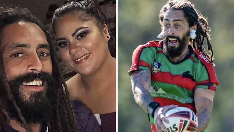 A 50-50 split image shows a selfie of Wiremu Kahui and wife Haylee on the left, and Wiremu Kahui playing rugby league on the right.