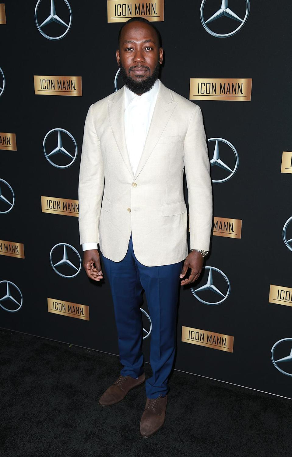 <p>Lamorne Morris arrives at the Mercedes-Benz x ICON MANN 2017 Academy Awards Viewing Party at Four Seasons Hotel Los Angeles at Beverly Hills on February 26, 2017 in Los Angeles, California. (Photo by Leon Bennett/Getty Images) </p>