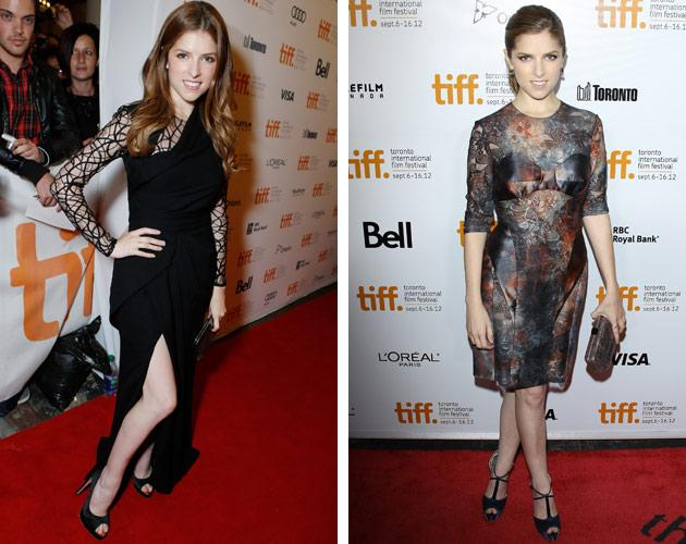 """The first weekend of TIFF, Anna Kendrick was the one to watch at the """"End of Watch"""" premiere, where <a target=""""_blank"""" href=""""http://ca.omg.yahoo.com/blogs/wide-screen/thigh-high-slit-dresses-over-tiff-2012-155428237.html"""">she flashed her gams</a> in an Elie Saab gown that boasted a thigh-high slit. The 27-year-old """"Twilight"""" star was no doubt feeling a little tired the next night, opting for a slightly more conservative <a target=""""_blank"""" href=""""http://ca.omg.yahoo.com/blogs/north-stars/anna-kendrick-goes-sheer-end-watch-premiere-tiff-180246002.html"""">sheer Mulberry frock </a>to support her Robert Redford thriller, """"The Company You Keep."""""""