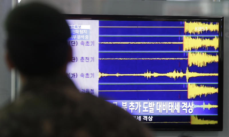 A South Korean soldier watches a TV screen reporting seismic waves from North Korea's nuclear test at Seoul train station in Seoul, South Korea, Tuesday, Feb. 12, 2013. Defying U.N. warnings, North Korea on Tuesday conducted an underground nuclear test in the remote, snowy northeast, taking a crucial step toward its goal of building a bomb small enough to be fitted on a missile capable of striking the United States. (AP Photo/Lee Jin-man)