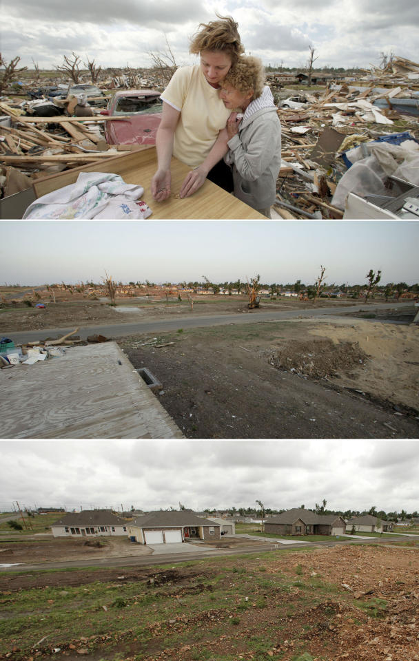 This three-photo combo shows a scene taken on May 25, 2011, top, July 20, 2011, center, and May 7, 2012, bottom, shows progress made in Joplin, Mo. in the year after an EF-5 tornado destroyed a large swath of the city and killed 161 people. In the top photo, Beverly Winans hugs her daughter Debbie Surlin while salvaging items from Winans' devastated home which today stands cleared of debris. (AP Photo/Charlie Riedel)