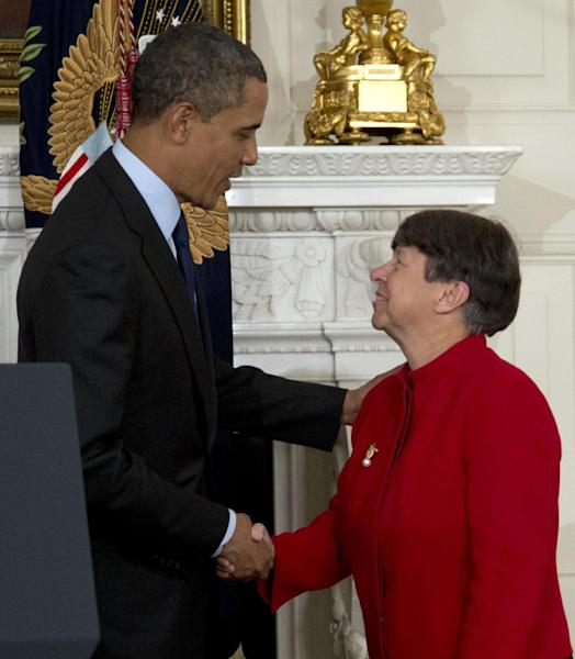 President Barack Obama shakes hands with Mary Joe White in the State Dining Room of the White House in Washington, Thursday, Jan. 24, 2013, after announcing that he will nominate White to lead the Security and Exchange Commission (SEC), and re-nominate Richard Cordray, to lead the Consumer Financial Protection Bureau, a role that he has held for the last year under a recess appointment. (AP Photo/Carolyn Kaster)