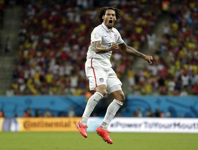 United States' Jermaine Jones celebrates after scoring his side's first goal during the group G World Cup soccer match between the United States and Portugal at the Arena da Amazonia in Manaus, Brazil, Sunday, June 22, 2014. (AP Photo/Julio Cortez)