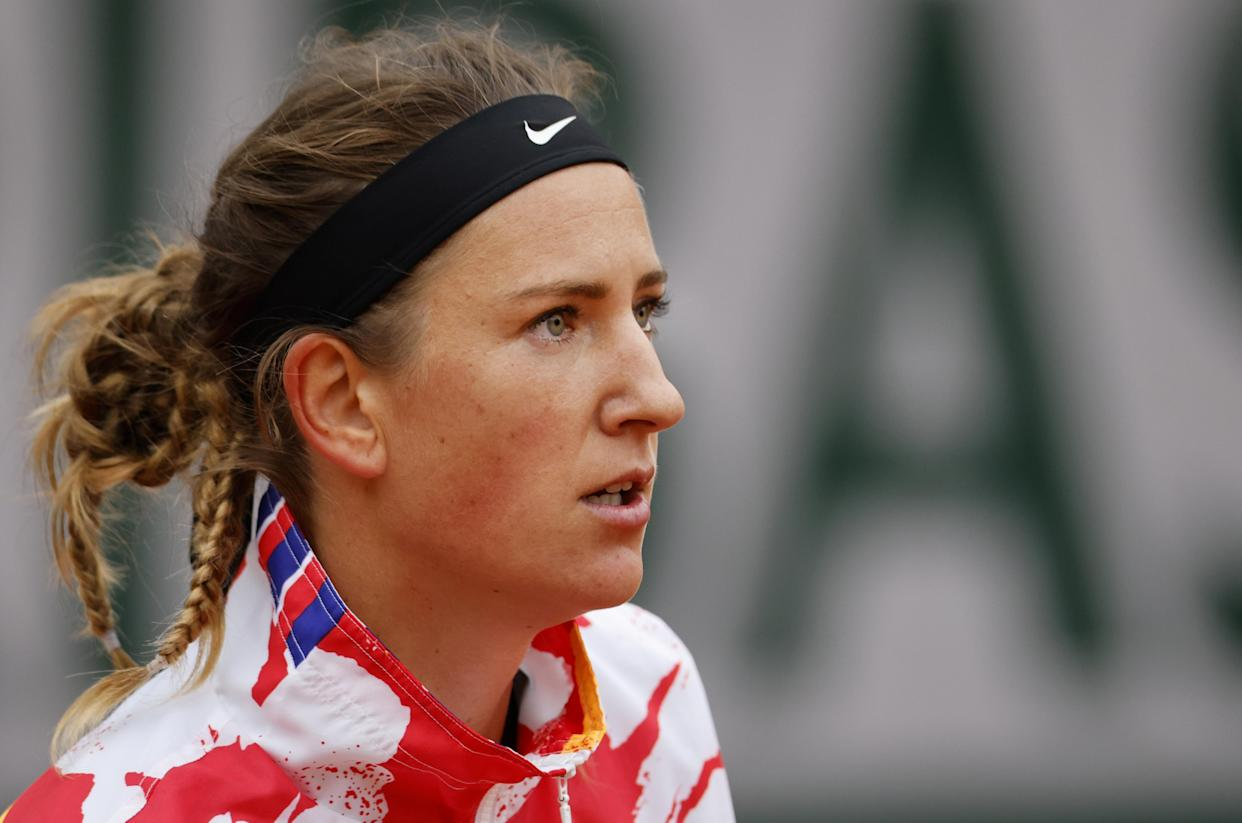 Belarus' Victoria Azarenka reacts during her women's singles first round tennis match against Montenegro's Danka Kovinic at the Suzanne Lenglen court on Day 1 of The Roland Garros 2020 French Open tennis tournament in Paris on September 27, 2020. (Photo by Thomas SAMSON / AFP) (Photo by THOMAS SAMSON/AFP via Getty Images)