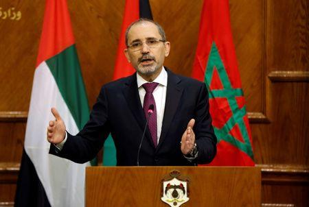 Jordanian Foreign Minister Ayman Safadi speaks during his joint news conference with Arab League Secretary-General Ahmed Aboul Gheit in Amman