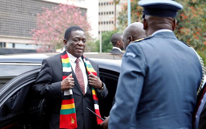 Zimbabwe President Emmerson Mnangagwa was accused of 'wicked ambition' by opposition figures for the changes in street names across the country - REUTERS