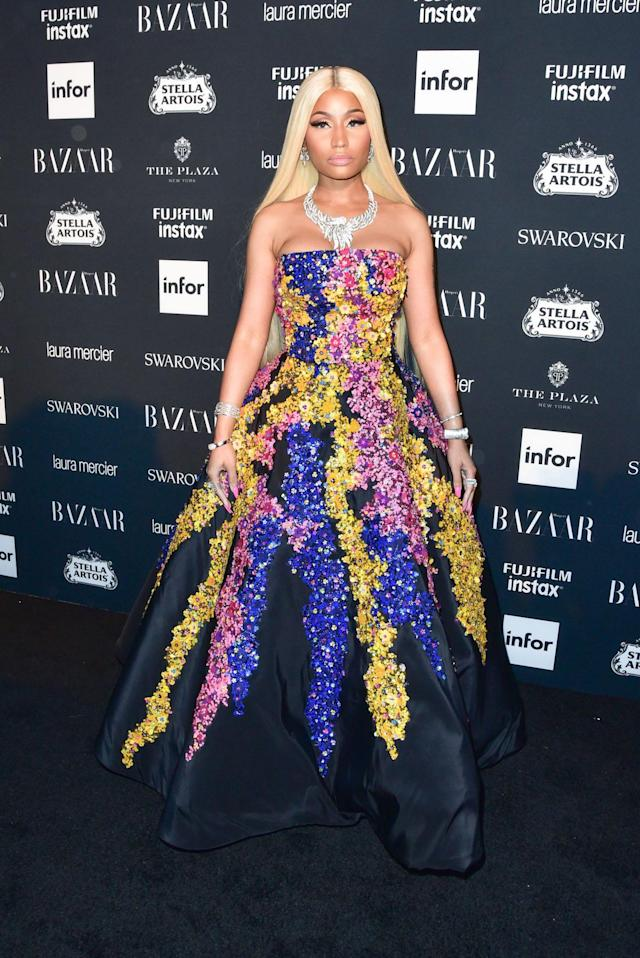 <p>Nicki Minaj attends the <em>Harper's Bazaar</em> Icons party. (Photo by Sean Zanni/Patrick McMullan via Getty Images) </p>
