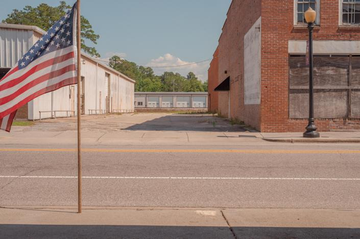 The abandoned downtown of Fair Bluff, N.C., five years since flooding from Hurricane Matthew devastated the small town, on June 18, 2021. (Mike Belleme/The New York Times)