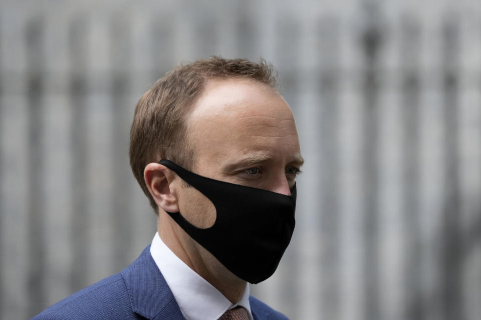 Britain's Health Secretary Matt Hancock leaves 10 Downing Street, in London, Monday, June 7, 2021. Hancock said Sunday the delta variant, which is fast becoming the dominant coronavirus variant in the U.K., is 40% more transmissible compared to the country's existing strains. (AP Photo/Matt Dunham)