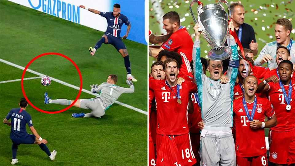 Pictured here, Manuel Neuer lifts the trophy with Bayern teammates after winning the Champions League final.