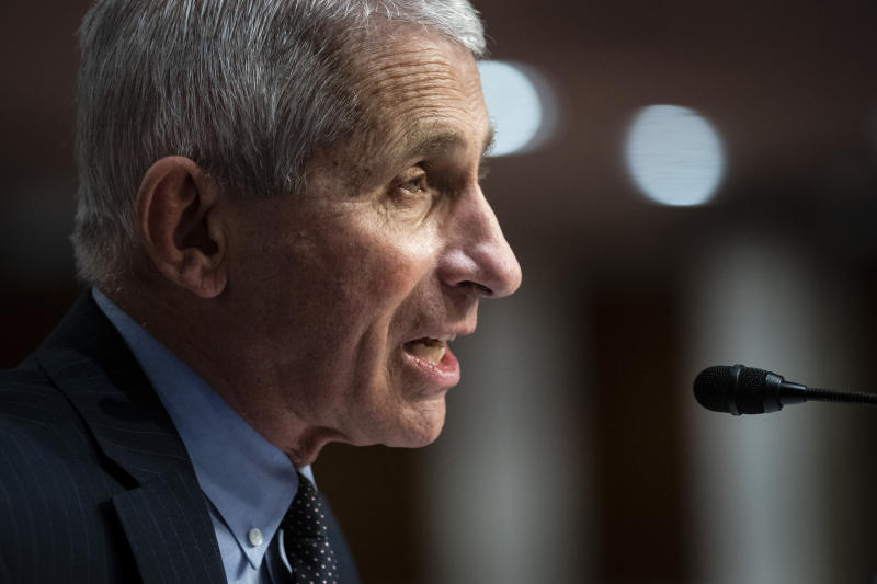Dr. Anthony Fauci said on Monday that multiple vaccine candidates are approaching their final trial stages. (Al Drago/Pool via AP)