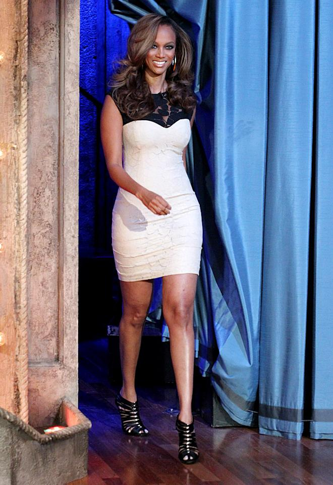 "Love her or hate her, there's no denying that Tyra Banks brings it when it matters most. The ""Top Model"" hostess recently popped by ""Late Night with Jimmy Fallon"" to hawk her reality show in this cream dream and a fierce pair of cage booties. Is her getup smize-worthy?<br>(8/21/2012)<br><br><a target=""_blank"" href=""http://tv.yahoo.com/photos/america-s-next-top-model-meet-the-cycle-19-contestants-slideshow/america-s-next-top-model-college-edition-photo-1343845967.html"">'ANTM: College Edition': Meet the Coeds</a>"