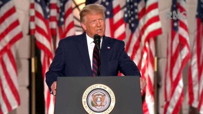 President Trump speaks during the virtual Republican National Convention on August 27, 2020. (via Reuters TV)