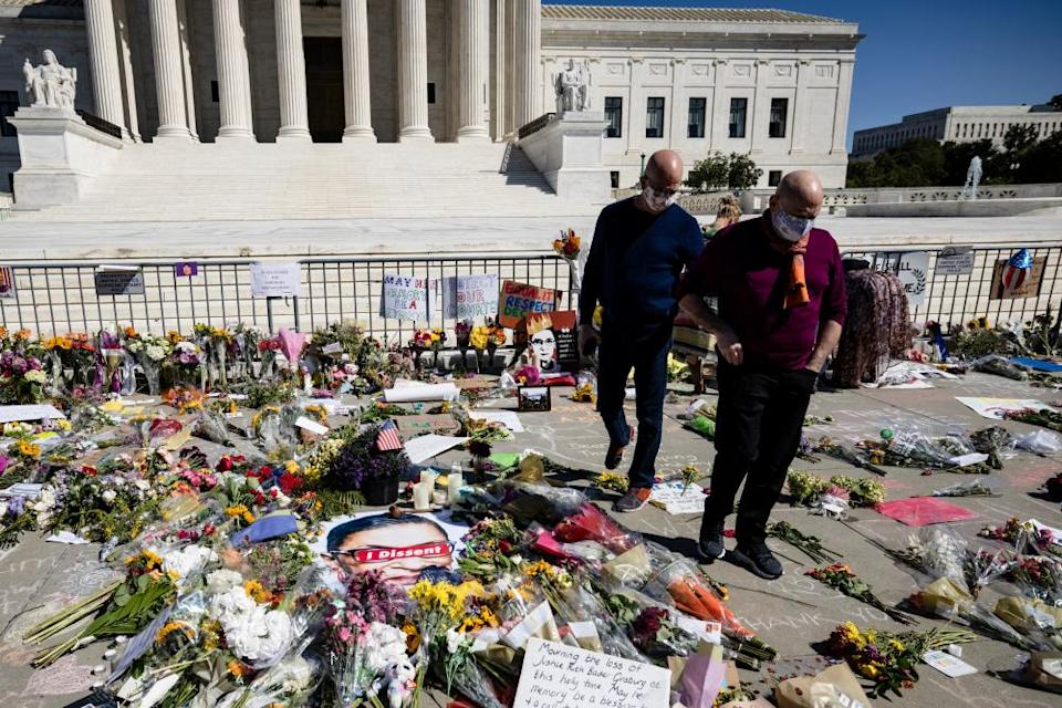A makeshift memorial for Ruth Bader Ginsburg, in front of the US supreme court in Washington.
