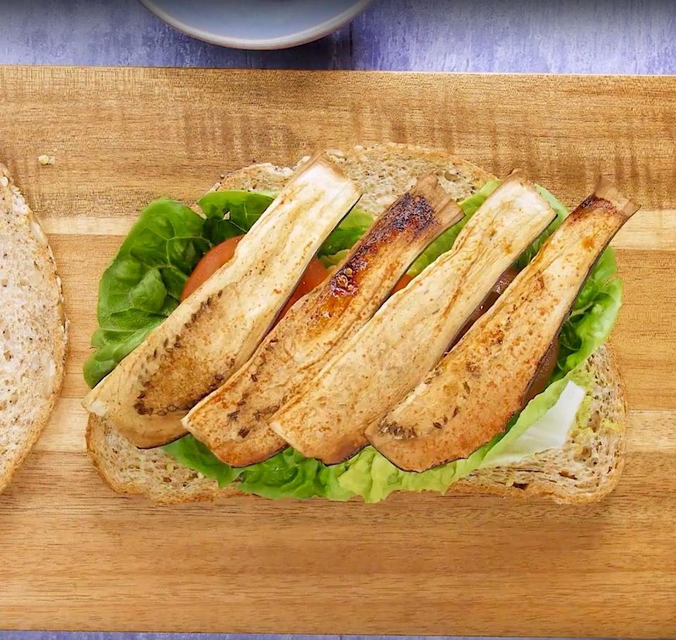 """<p>The powerful marinade on the strips of aubergine gives them a complex, savoury flavour and cooking them in this way allows them to crisp up and is complimented by the creamy avocado mayonnaise.</p><p><strong>Recipe: <a href=""""https://www.goodhousekeeping.com/uk/food/recipes/a574411/vegan-aubergine-sandwich-avocado-mayonnaise/"""" rel=""""nofollow noopener"""" target=""""_blank"""" data-ylk=""""slk:Vegan 'BLT' sandwich"""" class=""""link rapid-noclick-resp"""">Vegan 'BLT' sandwich</a></strong></p>"""
