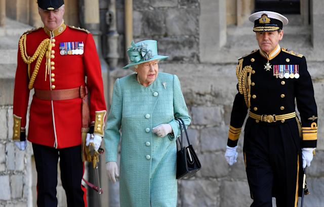 The Queen was without family members as she watched the ceremony. (Getty Images)