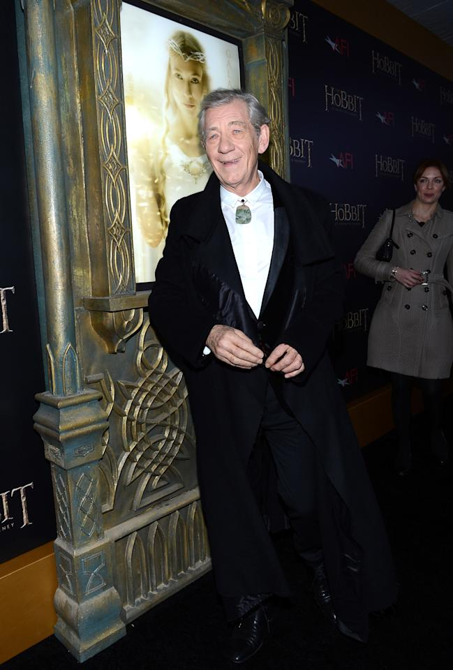"NEW YORK, NY - DECEMBER 06:  Sir Ian McKellen attends ""The Hobbit: An Unexpected Journey"" New York premiere benefiting AFI at Ziegfeld Theater on December 6, 2012 in New York City.  (Photo by Andrew H. Walker/Getty Images)"