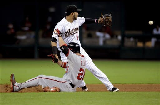 Washington Nationals' Jesus Flores (26) slides into second base ahead of the throw to Houston Astros' Marwin Gonzalez (9) for a double in the fifth inning of a baseball game, Tuesday, Aug. 7, 2012, in Houston. (AP Photo/Pat Sullivan)