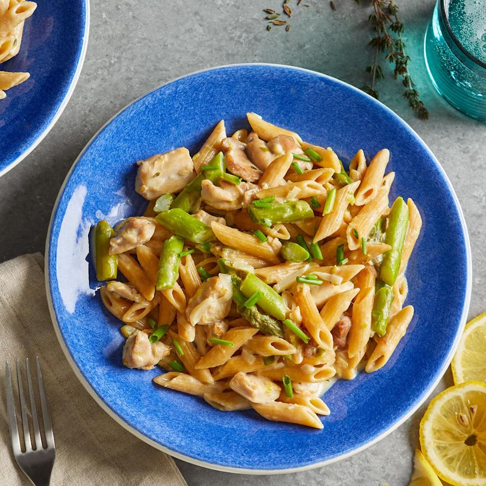 "<p>This creamy chicken and asparagus pasta is a quick, warming meal all cooked in one pot. The cream cheese adds a silky texture to the sauce, while fresh asparagus and lemon brighten the dish. <a href=""https://www.eatingwell.com/recipe/7884671/creamy-chicken-asparagus-pasta/"" rel=""nofollow noopener"" target=""_blank"" data-ylk=""slk:View recipe"" class=""link rapid-noclick-resp""> View recipe </a></p>"