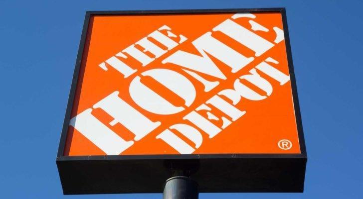 Home Depot (HD) sign backdropped by blue sky
