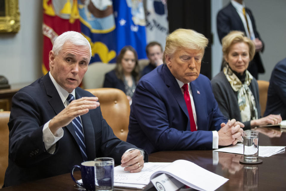 Vice President Mike Pence with President Donald Trump and White House coronavirus response coordinator Dr. Deborah Birx, speaks during a coronavirus briefing with Airline CEOs in the Roosevelt Room of the White House, Wednesday, March 4, 2020, in Washington. (AP Photo/Manuel Balce Ceneta)