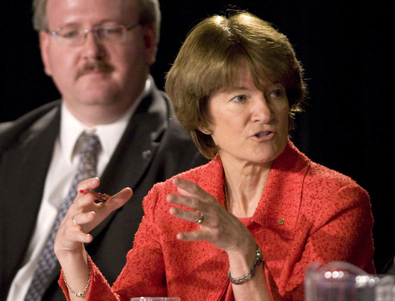 FILE - In this July 28, 2009 file photo, former astronaut Dr. Sally Ride, with Jeffrey Greason in the background, comments during a public meeting of the Review of U.S. Human Space Flight Plans Committee, in League City, Texas. Ride, the first American woman in space, died Monday, July 23, 2012 after a 17-month battle with pancreatic cancer. She was 61. (AP Photo/Houston Chronicle, Brett Coomer, File) MANDATORY CREDIT AP PHOTO/HOUSTON CHRONICLE, BRETT COOMER.