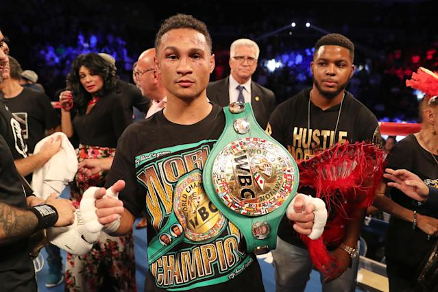 Regis Prograis celebrates after defeating Juan Jose Velasco during their WBC Diamond Super Lightweight Title boxing match at the UNO Lakefront Arena on July 14, 2018, in New Orleans. (Getty Images)