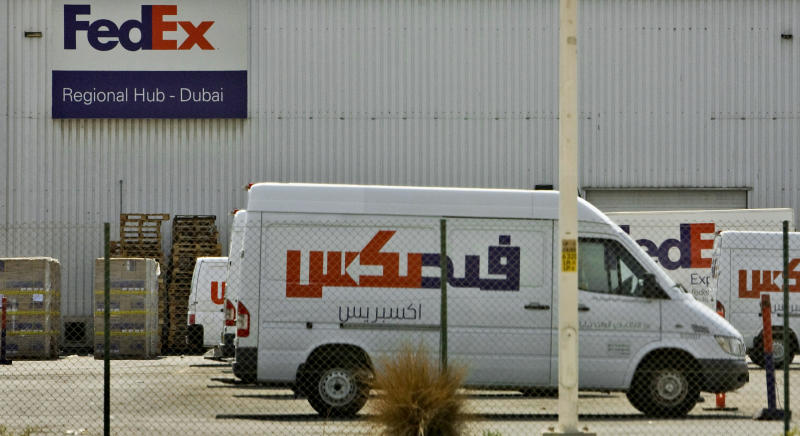 FILE - In this Oct. 30, 2010 file photo, the FedEx regional hub at Terminal 2 of Dubai airport is seen in Dubai, United Arab Emirates. The glaring weakness of the cargo shipping system has been laid bare by the Yemen-based mail bomb plot _ but the cost of fixing it may be too high for governments, airlines and shippers to stomach during a global downturn.  Analysts warn that the cost of screening every piece of air cargo in a bid to prevent terrorists from downing airliners might bankrupt international shipping companies, hobble already weakened airlines and still would not provide full protection. (AP Photo/Farhad Berahman, File)