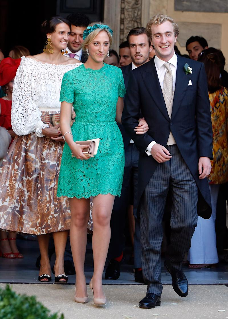 ROME, ITALY - JULY 05: Princess Maria Laura of Belgium and Prince Joachim of Belgium attend the wedding of Prince Amedeo Of Belgium and Elisabetta Maria Rosboch Von Wolkenstein at Basilica Santa Maria in Trastevere on July 5, 2014 in Rome, Italy. (Photo by Elisabetta Villa/Getty Images)