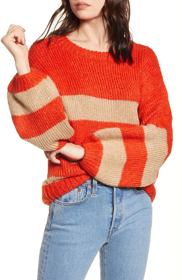 "<p>We love the shape of this <a href=""https://www.popsugar.com/buy/Only-Linetta-Balloon-Sleeve-Sweater-497698?p_name=Only%20Linetta%20Balloon-Sleeve%20Sweater&retailer=shop.nordstrom.com&pid=497698&price=49&evar1=fab%3Aus&evar9=46284514&evar98=https%3A%2F%2Fwww.popsugar.com%2Ffashion%2Fphoto-gallery%2F46284514%2Fimage%2F46712721%2FOnly-Linetta-Balloon-Sleeve-Sweater&list1=shopping%2Cnordstrom%2Csummer%20fashion%2Caffordable%20shopping&prop13=api&pdata=1"" rel=""nofollow"" data-shoppable-link=""1"" target=""_blank"" class=""ga-track"" data-ga-category=""Related"" data-ga-label=""https://shop.nordstrom.com/s/only-linetta-balloon-sleeve-sweater/5411212?origin=category-personalizedsort&amp;breadcrumb=Home%2FWomen%2FNew%20Arrivals&amp;color=orange%2F%20nomad%20stripe"" data-ga-action=""In-Line Links"">Only Linetta Balloon-Sleeve Sweater</a> ($49).</p>"