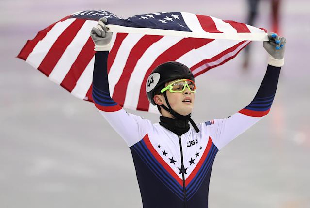 John Henry Krueger of United States celebrates second place in the Men's 1000m Final during the Short Track Speed Skating. (Getty)