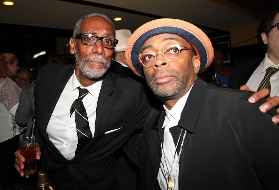 """NEW YORK, NY - AUGUST 02: (L-R) Thomas Jefferson Byrd and Spike Lee """"Mike Tyson: Undisputed Truth"""" Broadway Opening Night at Longacre Theatre on August 2, 2012 in New York City. (Photo by Johnny Nunez/WireImage)"""